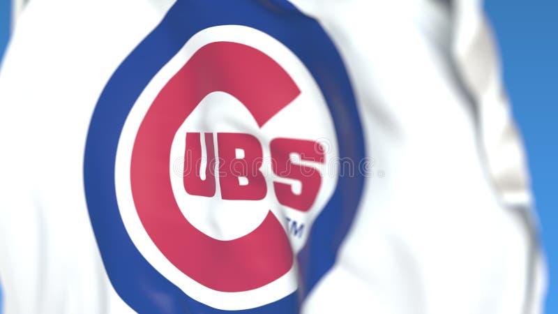 Waving flag with Chicago Cubs team logo, close-up. Editorial 3D rendering. Waving flag with Chicago Cubs professional team logo. Editorial 3D stock illustration