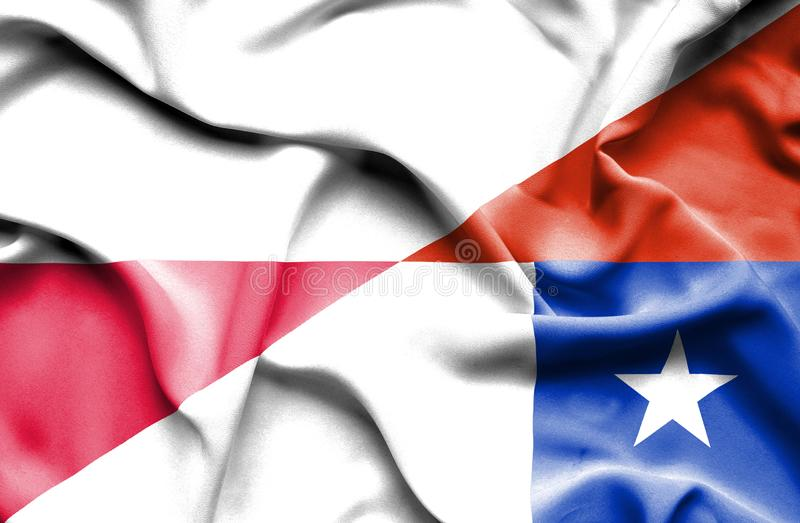 Waving flag of Chile and Poland vector illustration