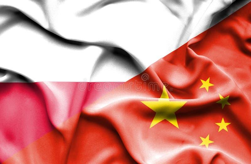 Waving flag of China and Poland stock illustration