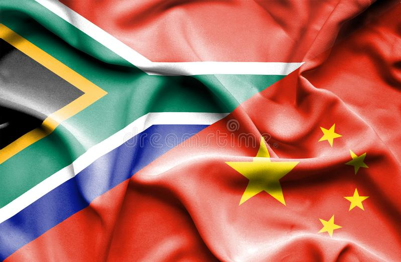 Waving flag of China and South Africa stock illustration