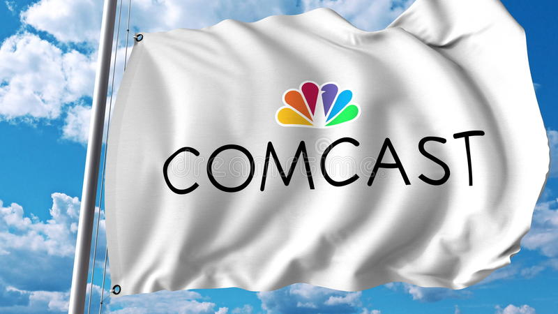 Waving flag with Comcast logo. Editoial 3D rendering stock illustration