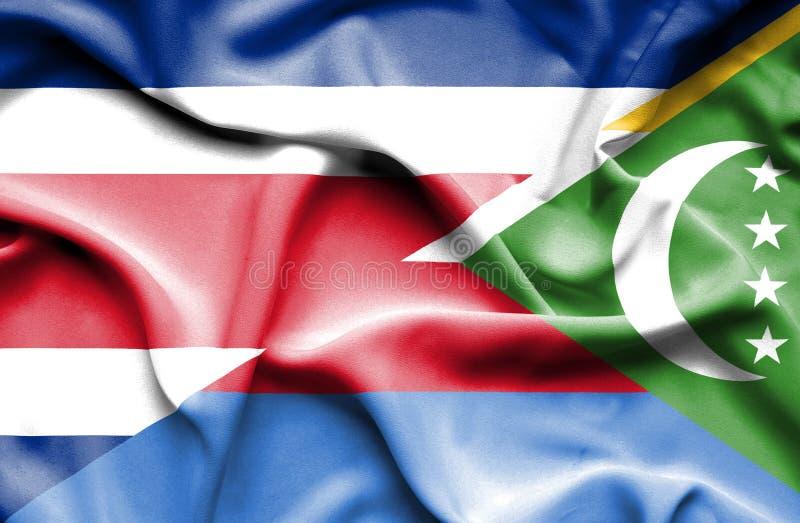 Waving flag of Comoros and Costa Rica stock illustration