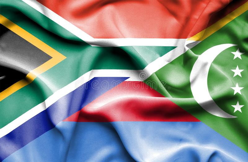 Waving flag of Comoros and South Africa vector illustration