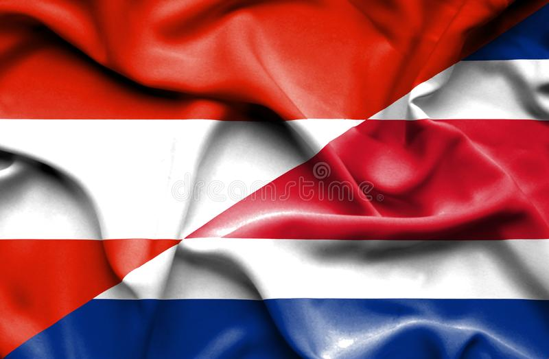 Waving flag of Costa Rica and Austria. Waving flag of Costa Rica and  Austria royalty free illustration