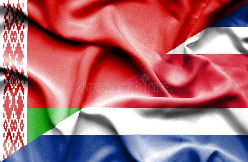 Waving flag of Costa Rica and Belarus stock illustration