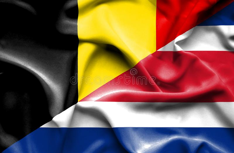 Waving flag of Costa Rica and Belgium royalty free illustration
