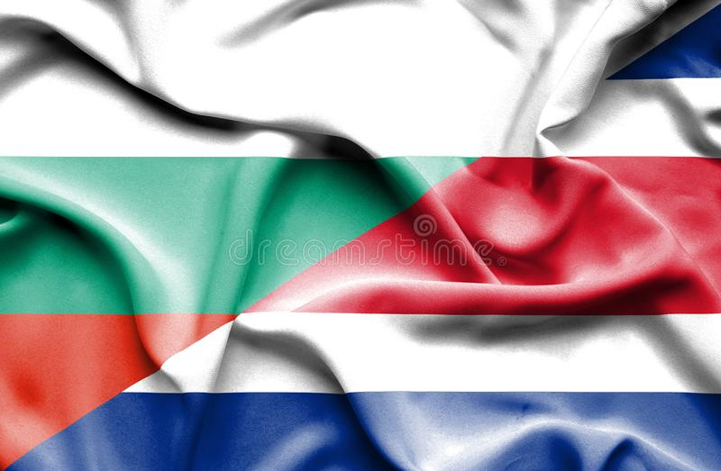 Waving flag of Costa Rica and Bulgaria vector illustration