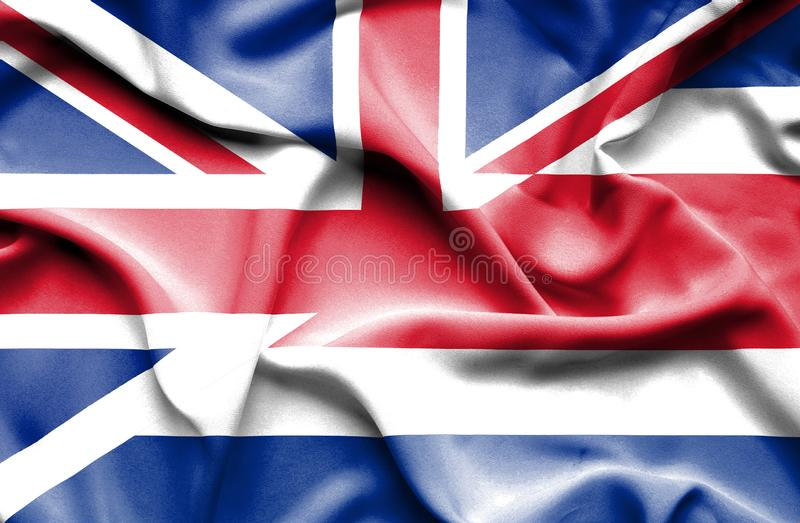 Waving flag of Costa Rica and Great Britain royalty free illustration