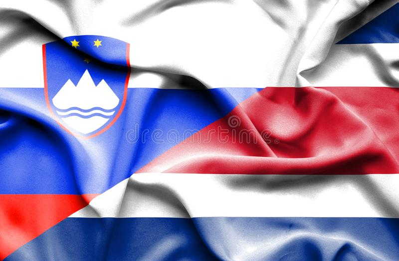 Waving flag of Costa Rica and Slovenia vector illustration
