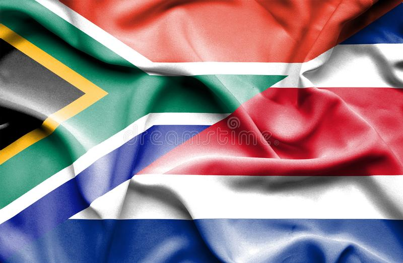 Waving flag of Costa Rica and South Africa stock illustration