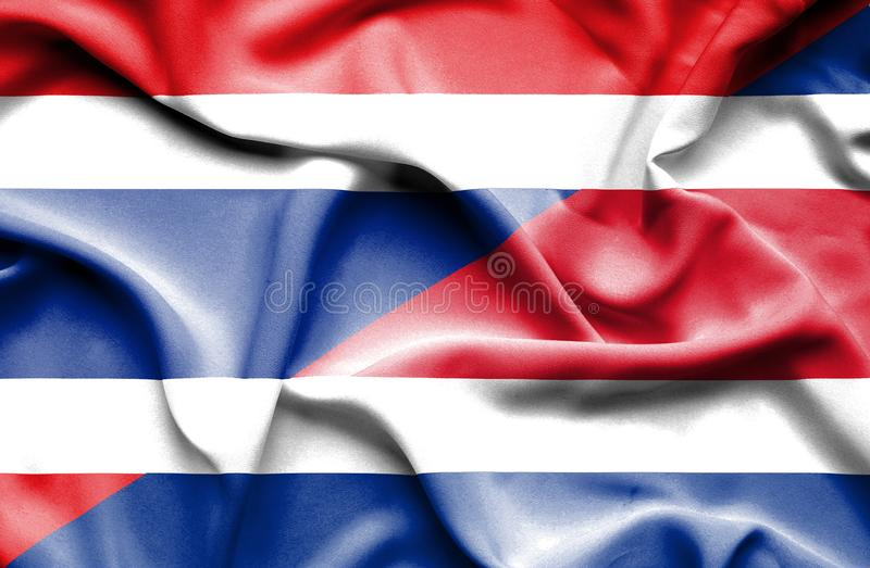 Waving flag of Costa Rica and Thailand stock illustration