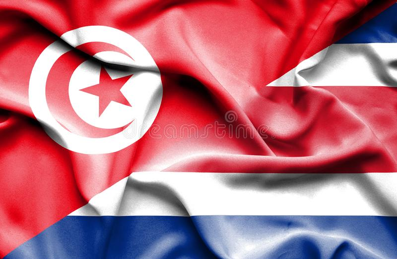 Waving flag of Costa Rica and Tunisia stock illustration