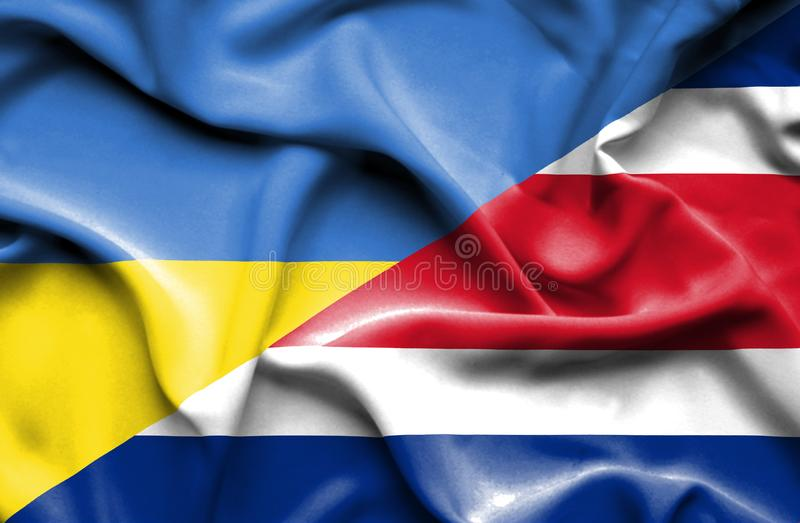 Waving flag of Costa Rica and Ukraine vector illustration