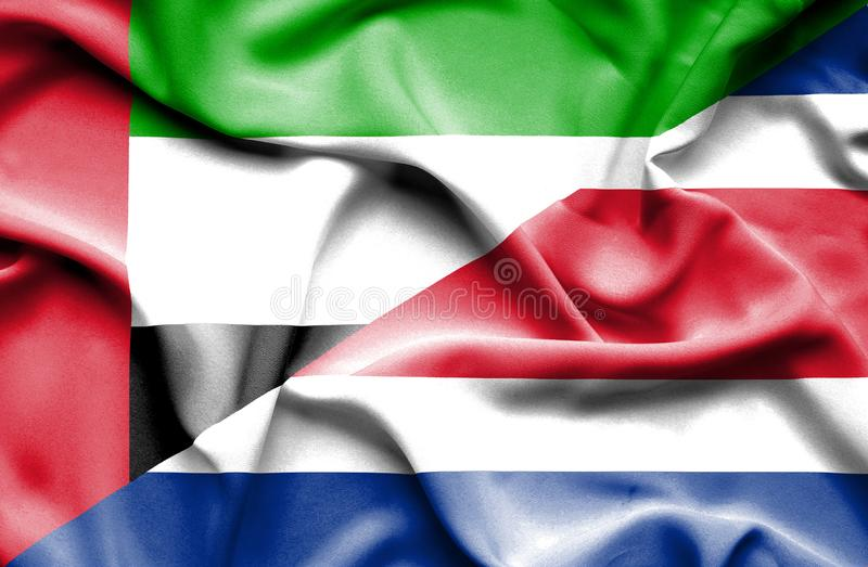 Waving flag of Costa Rica and United Arab Emirates vector illustration
