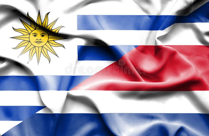 Waving flag of Costa Rica and Uruguay vector illustration