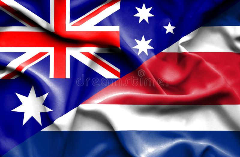 Waving flag of Costa Rica and Australia. Waving flag of Costa Rica and royalty free illustration