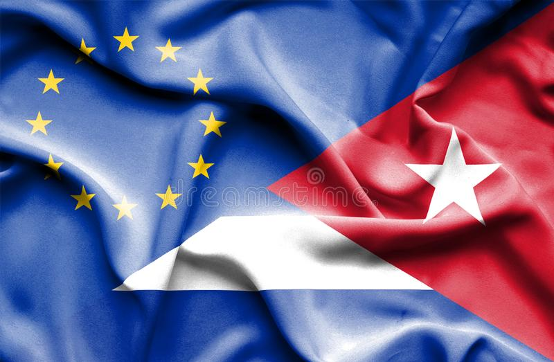 Waving flag of Cuba and EU. Waving flag of Cuba and stock photo