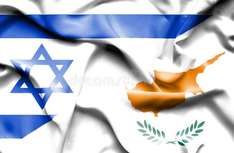 Waving flag of Cyprus and Israel royalty free illustration