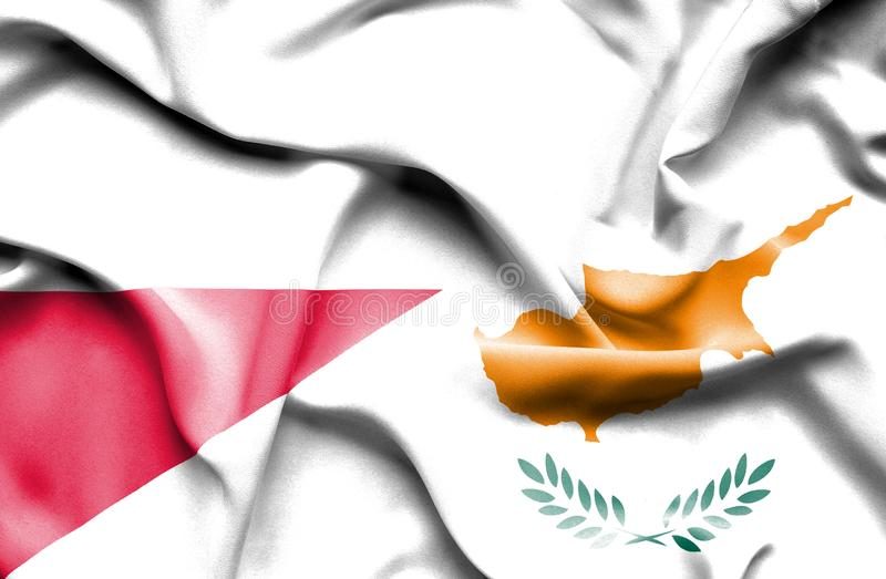 Waving flag of Cyprus and Poland vector illustration