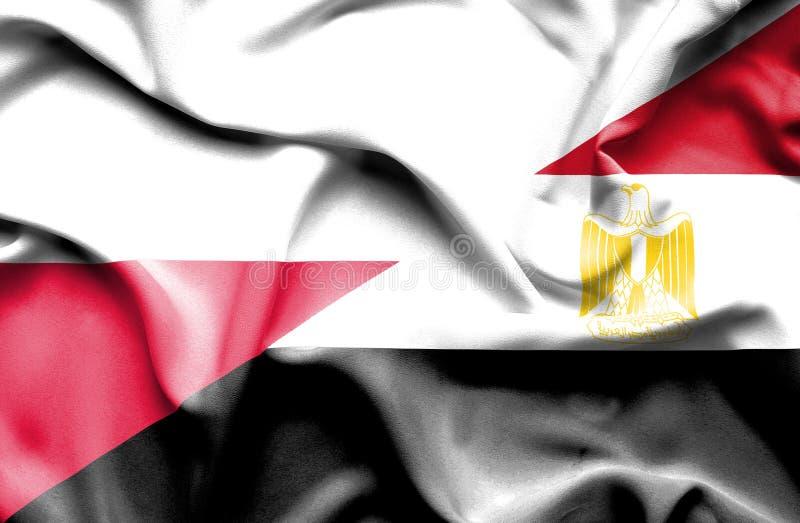 Waving flag of Egypt and Poland stock illustration