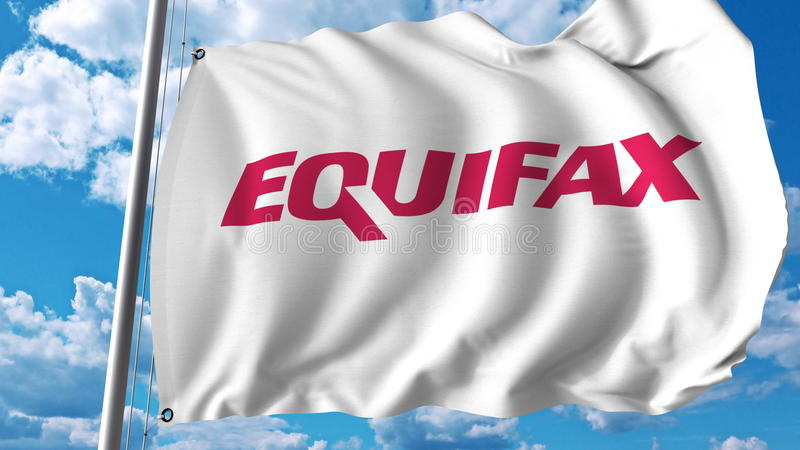 Waving flag with Equifax logo. Editoial 3D rendering stock illustration