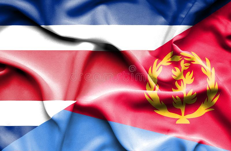 Waving flag of Eritrea and Costa Rica stock illustration