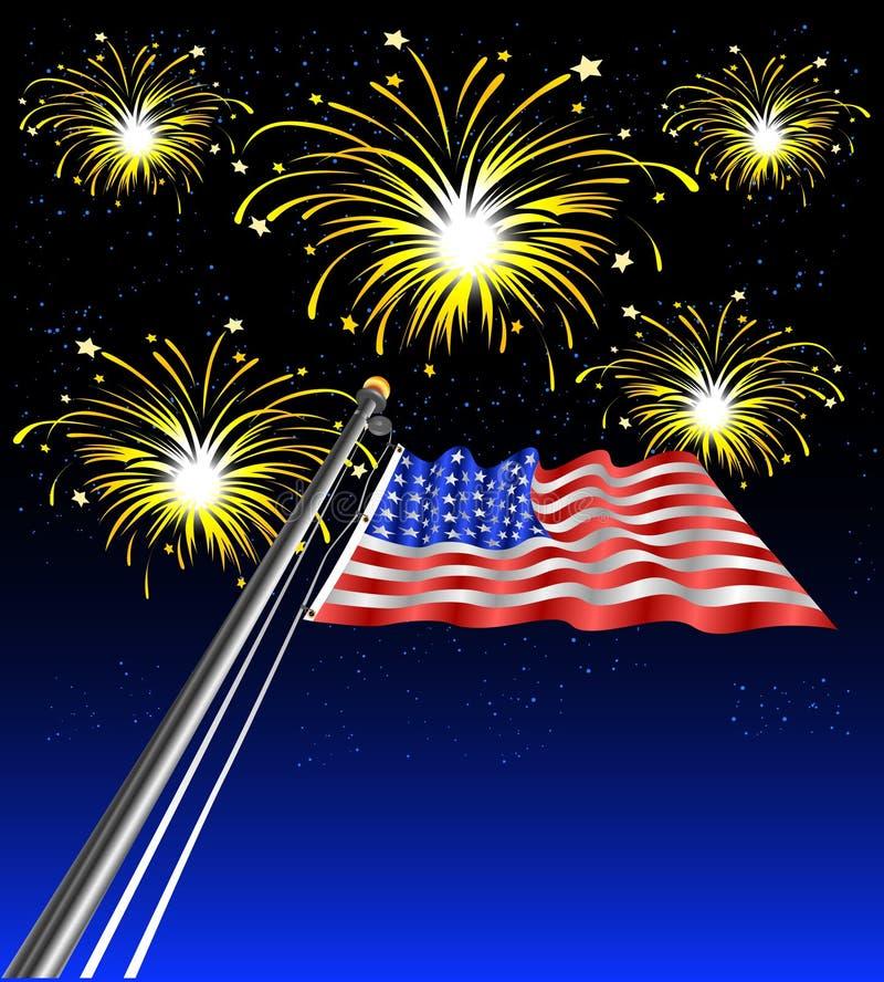 Waving_flag_fireworks Royalty Free Stock Photos