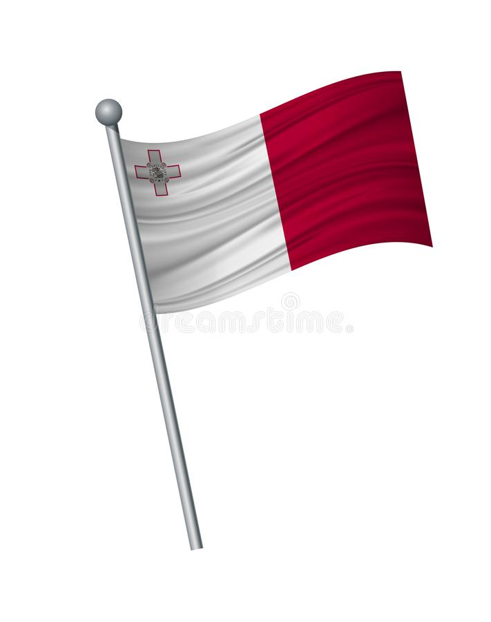 waving of flag on flagpole, Official colors and proportion correctly. vector illustration isolate on white background vector illustration