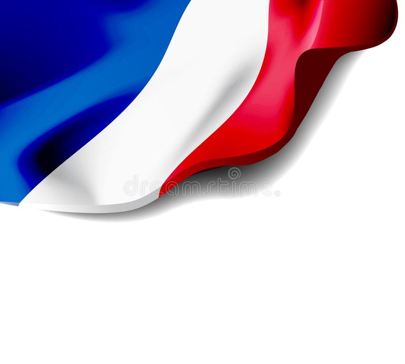 Waving flag of France close-up with shadow on white background. Vector illustration with copy space stock illustration