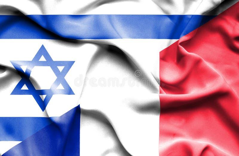 Waving flag of France and Israel stock illustration
