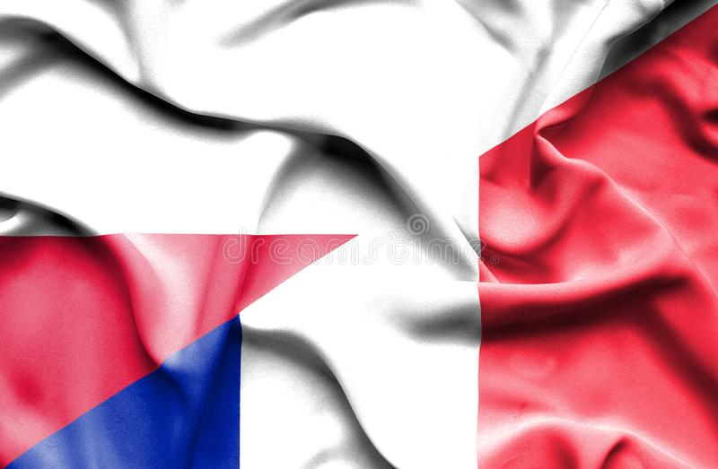 Waving flag of France and Poland vector illustration