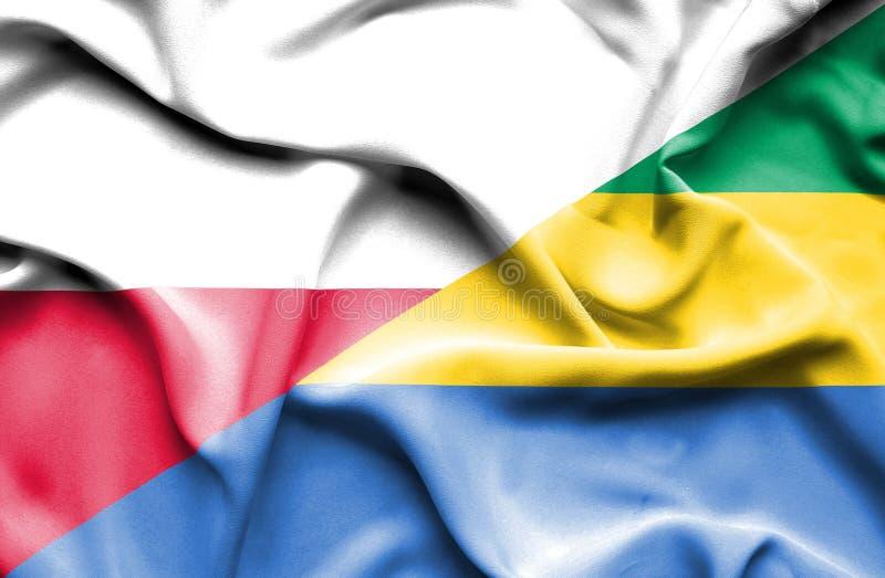 Waving flag of Gabon and Poland royalty free illustration