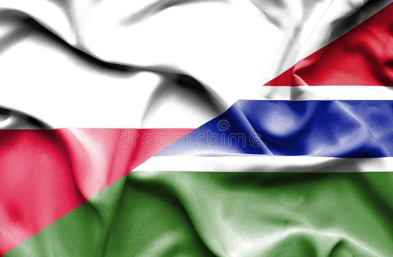Waving flag of Gambia and Poland stock illustration
