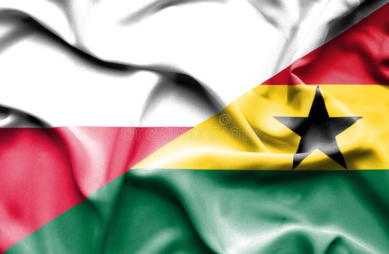 Waving flag of Ghana and Poland royalty free illustration
