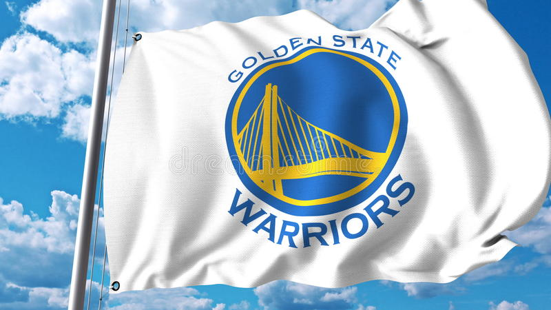 Waving flag with Golden State Warriors professional team logo. Editorial 3D rendering stock illustration