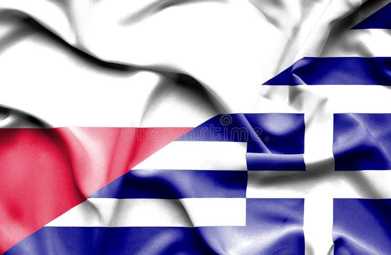 Waving flag of Greece and Poland stock illustration