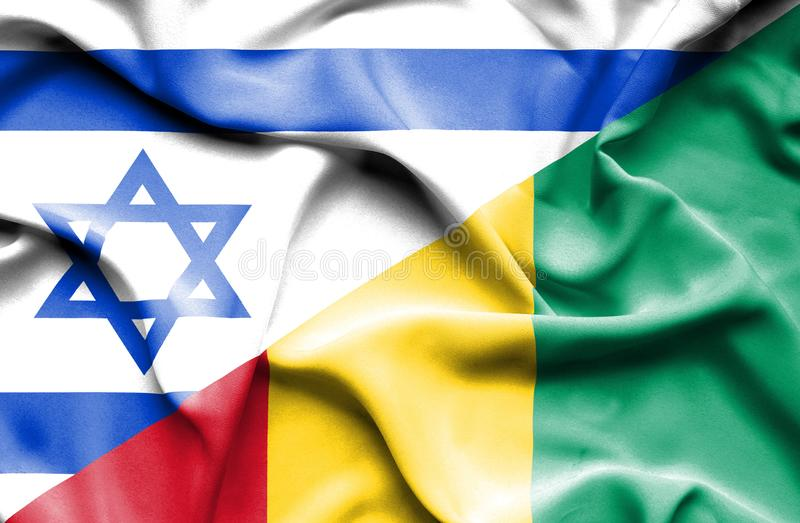 Waving flag of Guinea and Israel stock illustration
