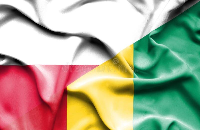 Waving flag of Guinea and Poland stock illustration