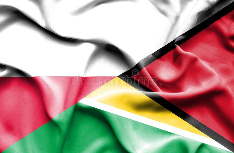 Waving flag of Guyana and Poland royalty free illustration