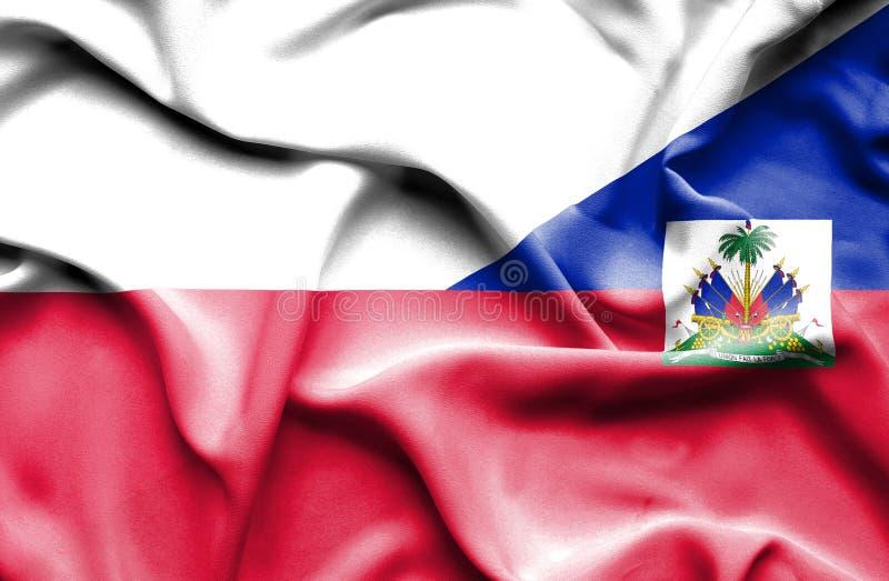Waving flag of Haiti and Poland stock illustration