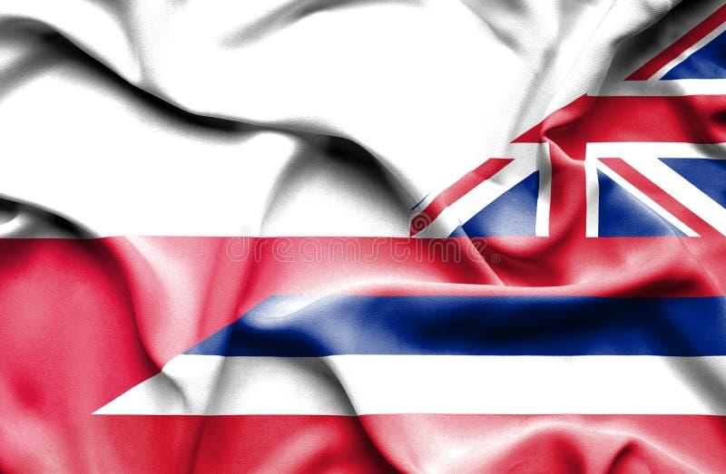 Waving flag of Hawaii and Poland stock illustration