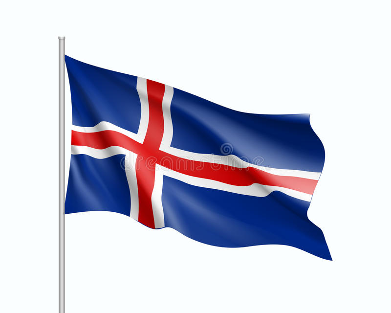 Waving flag of Iceland state. Illustration of European country flag on flagpole. Vector 3d icon isolated on white background vector illustration