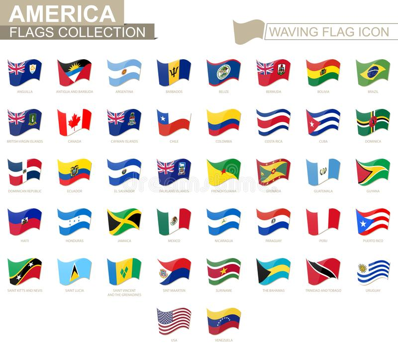 Waving flag icon, flags of America countries sorted alphabetically. Vector illustration stock illustration