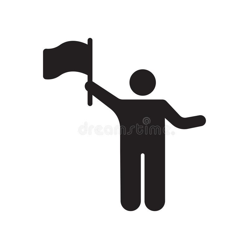 Waving flag icon vector sign and symbol isolated on white background, Waving flag logo concept royalty free illustration