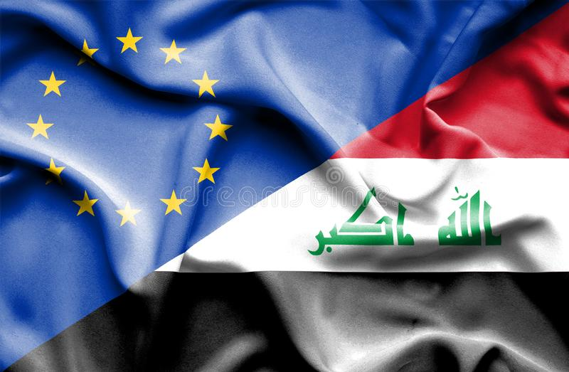 Waving flag of Iraq and EU. Waving flag of Iraq and stock photography