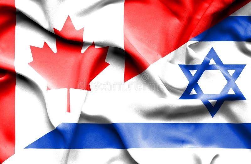 Waving flag of Israel and Canada royalty free illustration
