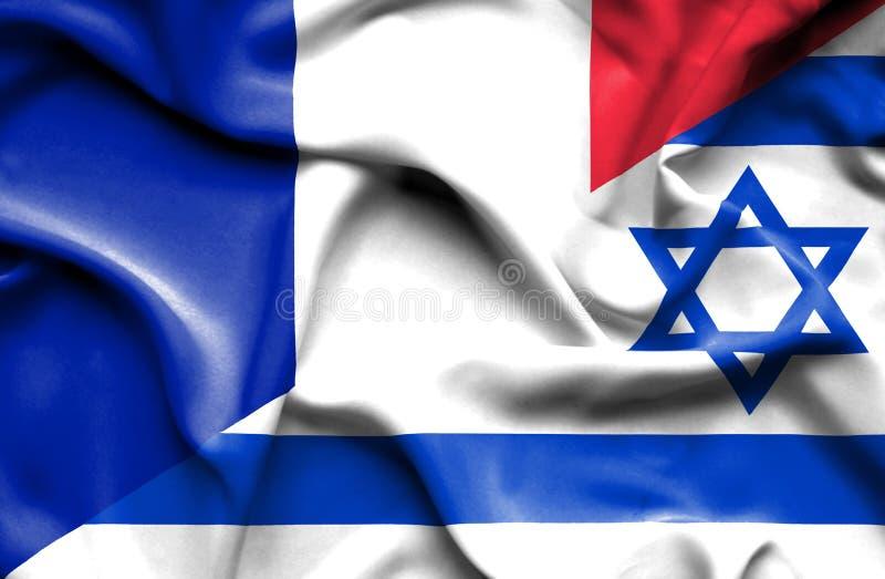 Waving flag of Israel and France royalty free illustration