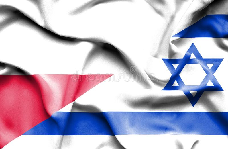Waving flag of Israel and Poland royalty free illustration