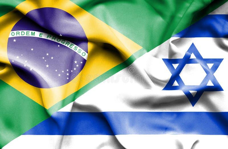 Waving flag of Israel and Brazil. Waving flag of Israel and stock illustration