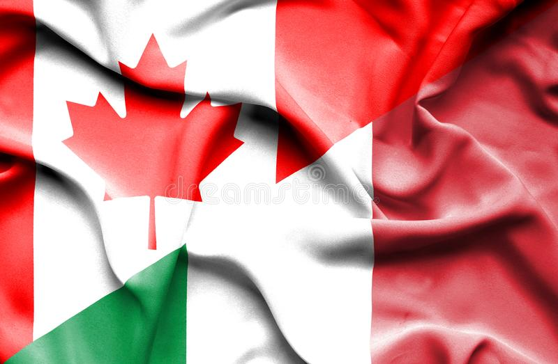 Waving flag of Italy and Canada vector illustration